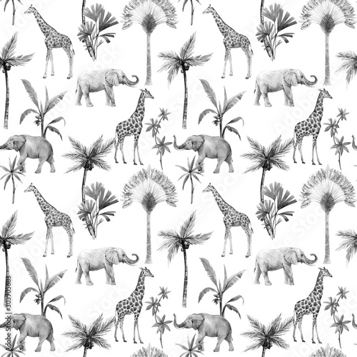 Vászonkép Watercolor seamless patterns with safari animals and palm trees