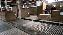 Corrugated Cardboard Industry. Paper Industry. Production. Assembly Line. Fabrication Of Corrugated Boxes.