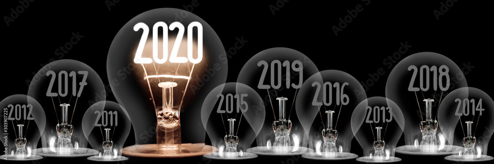 Fototapeta Light Bulbs with New Year 2020 Concept