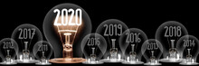 Light Bulbs With New Year 2020...