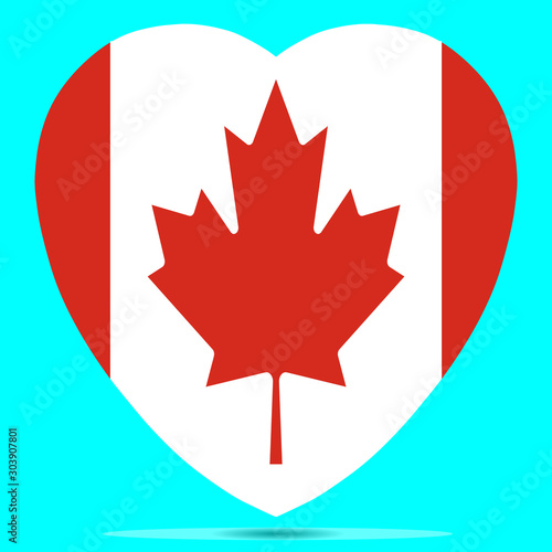 Canada Flag In Heart Shape Vector illustration Eps 10