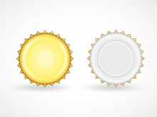 Bottle Cap Vector Set. Metallic Lids For Soda, Beer, Glass Containers For Beverages Isolated On White. Close-up Top, Back View Realistic Golden Lids With Copy Space For Branding, Creative Logo Design.