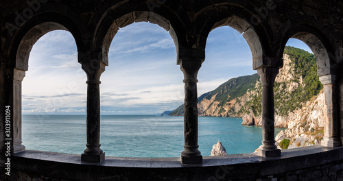 Fototapeta  View of the Ligurian coast near Cinque Terre from the window of St