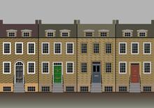 Four Typical British Brick House Facades.