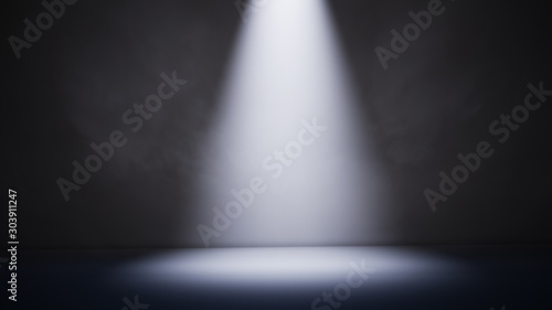 Obraz Abstract dark background with spotlight and smoke. 3D illustration - fototapety do salonu