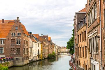 Fototapeta na wymiar River canal in old tourist town, Europe