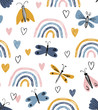 Scandinavian seamless pattern with rainbows, hearts, butterflies. Hand drawn cute texture. Modern ornament in vector. Perfect for fabric or childish design