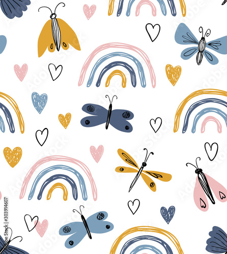 fototapeta na lodówkę Scandinavian seamless pattern with rainbows, hearts, butterflies. Hand drawn cute texture. Modern ornament in vector. Perfect for fabric or childish design