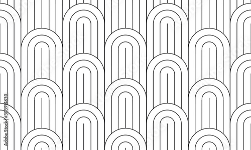 Fotografia Geometric seamless pattern, black and white geo fabric print, seamless overlay texture, vector illustration