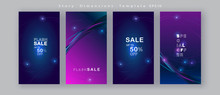 Abstract Brochure Sales Banner Card Post Story Social Media Frames Set Advertising Trendy Blue Glowing Neon Light Design Fashion Sign Concept Stories Modern Template Vector Christmas