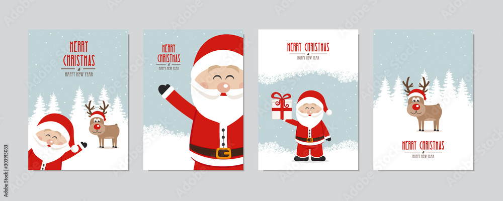 Fototapeta Christmas card set. Merry Christmas and Happy New Year greeting with cute santa claus and reindeer winter snowy landscape background lettering vector.