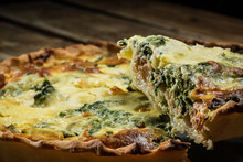 Traditional French Cake. Quiche With Chard In White. Dark Wood Background. Free Space Text.