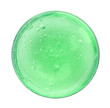 Leinwandbild Motiv Green slime in plastic container isolated on white, top view. Antistress toy