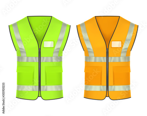 Cuadros en Lienzo Safety vest with reflective strips, vector mockup