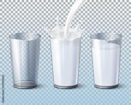 Fototapeta  Milk splash pouring in glass cup, vector 3d mockup