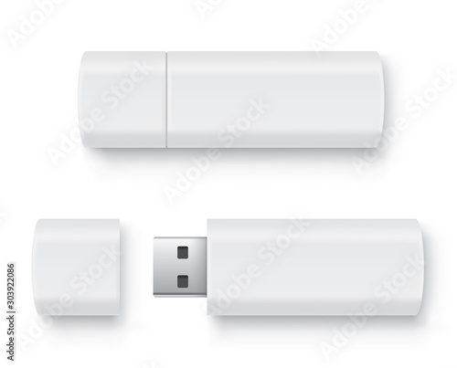 Obraz Realistic flash drive mockup set, open and closed. White mockup with shadow on white background - stock vector. - fototapety do salonu