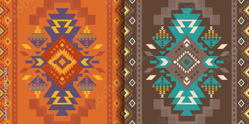 Photo sur Toile Style Boho Aztec, Navajo geometric seamless patterns. Native American Southwest prints. Ethnic design wallpaper, fabric, cover, textile, rug, blanket.
