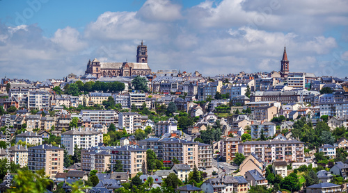Panoramic view of Rodez city, in South of France. Canvas Print