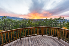 Aspen, Colorado House Real Estate View With Wooden Deck Railing On Balcony Terrace And Autumn Foliage In Roaring Fork Valley In 2019 And Sunset