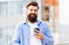 Coffee Really Gives More Energy. Bearded Man Enjoy Coffee In Morning. Happy Hipster Hold Takeaway Cup Of Hot Energy Drink. Increasing Energy Levels. Energy Boost