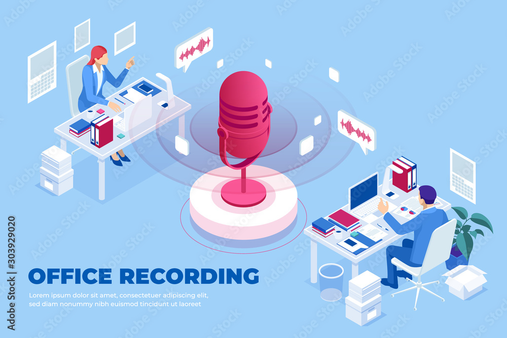 Fototapety, obrazy: Isometric office recording and digital sound wave concept. Musical melody design. Soundwave audio music. Voice message or recording voice.
