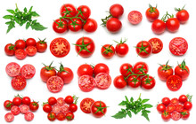 Tomatoes Collection Of Whole, Sliced And Leaf Isolated On White Background. Tasty And Healthy Food. Flat Lay, Top View