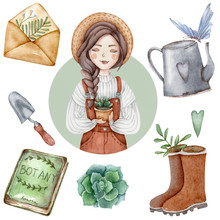 Watercolor Garden Elements For...