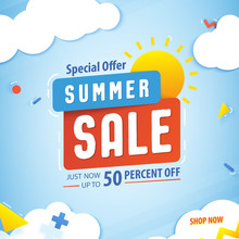 Summer Sale 50 Percent Off Promotion Square Website Banner Heading Design On Graphic Blue Sky & Cloud Fun Background Vector For Banner Or Poster. Sale And Discounts Concept.