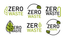 Zero Waste Logo Set, Environment Protection. Reduce, Reuse, Recycle. No Plastic And Go Green Slogan. Vector Illustration