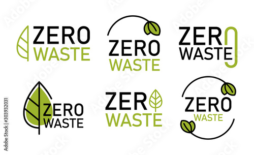 Zero waste logo set, environment protection Wallpaper Mural