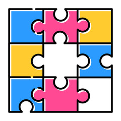 Jigsaw puzzle color icon. T...