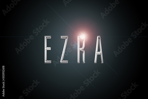 first name Ezra in chrome on dark background with flashes Wallpaper Mural