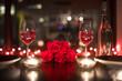 Romantic candle light dinner setting.