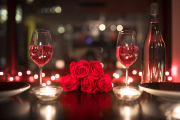 Romantic candle light dinner setting.