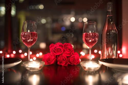 Fototapeta Romantic candle light dinner setting.  obraz