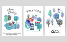 Merry Christmas Card Set With Watercolor Winter Landscapes. Vector Illustration.