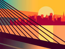 Cityscape With A Bridge Over The River. Silhouette Of A Modern City With Skyscrapers On A Sunrise Background. Vector Graphic Illustration Of Travel By Car Or Bus.
