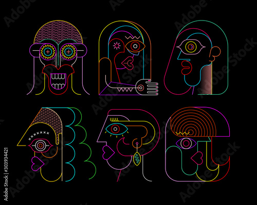 Six Neon Faces