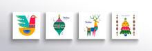 Christmas New Year Folk Nordic Art Animal Card Set