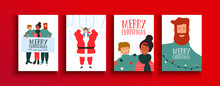 Christmas New Year Holiday Friends People Card Set
