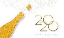 New Year 2020 Gold Glitter Cha...