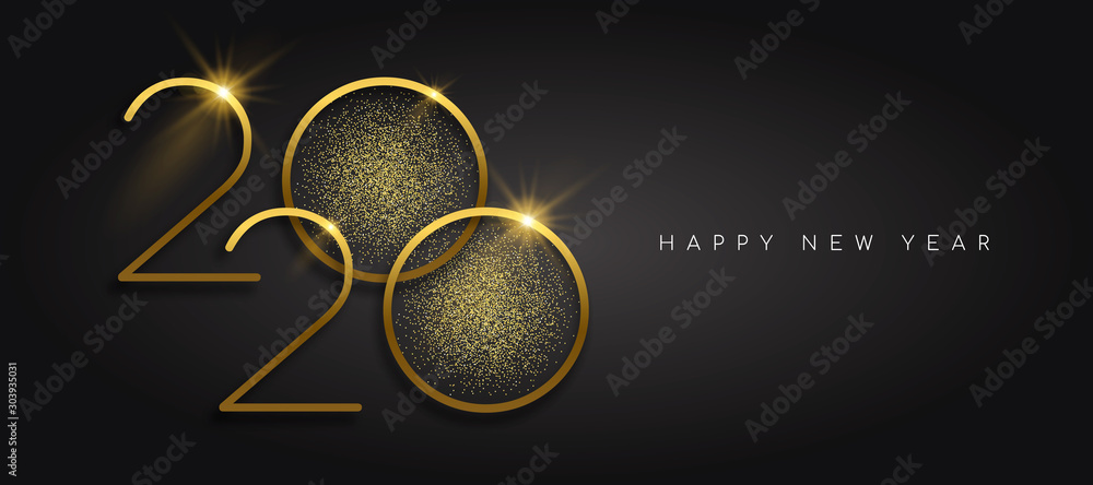 Fototapety, obrazy: New Year 2020 gold glitter black background card