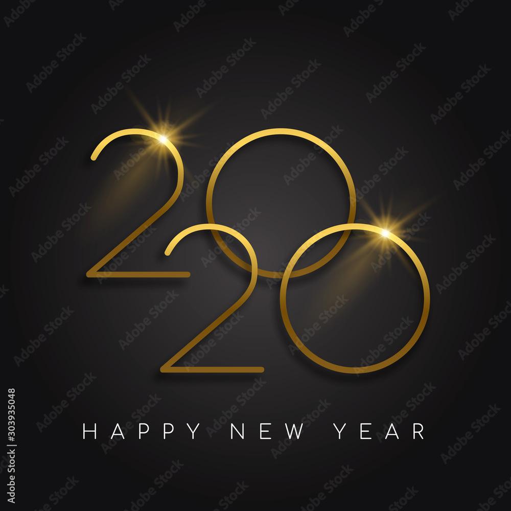 Fototapeta New Year 2020 gold number black background card