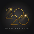 New Year 2020 gold number black background card