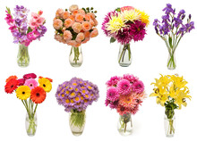Collection Of Bouquets Flowers Astra, Gerbera, Dahlia, Gladiolus, Rose, Iris, Lily In Vases Isolated On White Background. Flat Lay, Top View