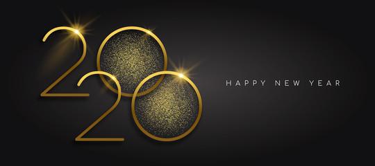 New Year 2020 gold glitter black background card