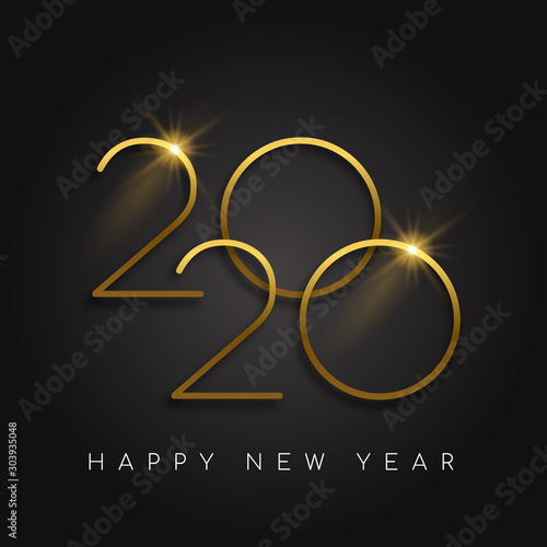 Photo New Year 2020 gold number black background card