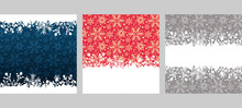 Christmas Frames Of Snow In Retro Style. For The Design Christmas Cards, Banners, Posters, Invitations. Colors Image: Blue,  Red, White, Gray. Vector Illustration