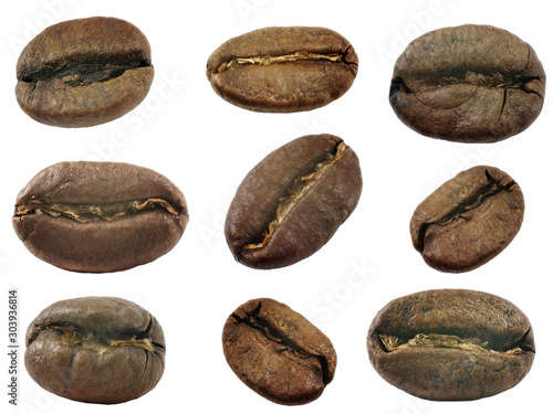 Tuinposter koffiebar coffee beans isolated on white background, set of 9 objects, high resolution