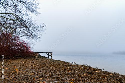 Foggy Morning on Bolton Lake Canvas Print